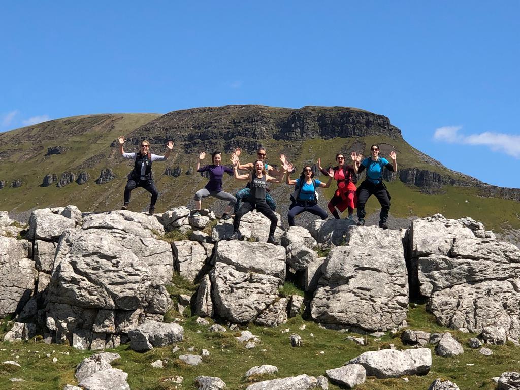 Walkers yoga pose on retreat