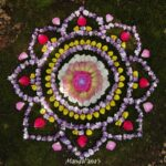 Flower mandala on grass